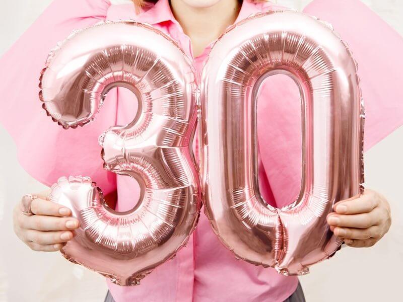 Ballon anniversaire chiffre 0 Or Rose 35cm
