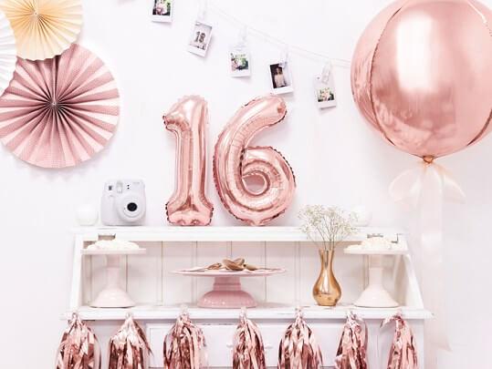 Ballon anniversaire chiffre 1 Or Rose 35cm