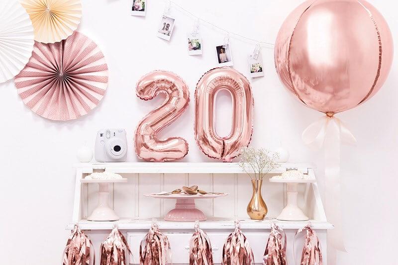 Ballon anniversaire chiffre 2 Or Rose 35cm