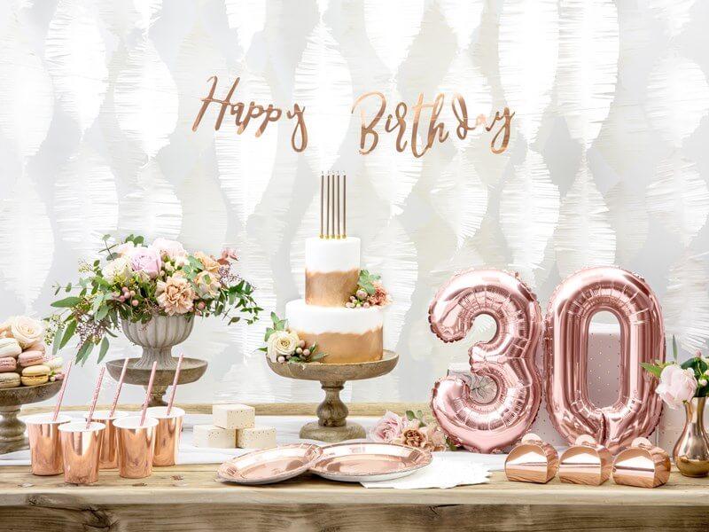 Ballon anniversaire chiffre 3 Or Rose 35cm