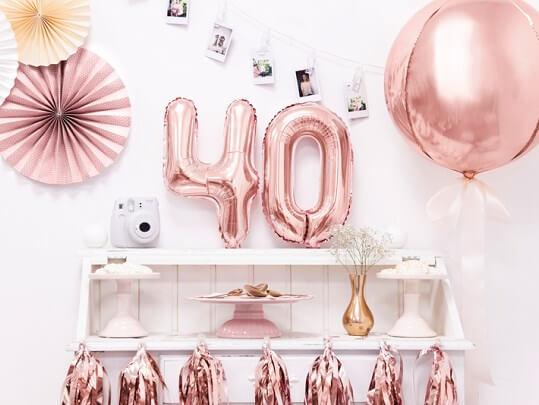Ballon anniversaire chiffre 4 Or Rose 35cm