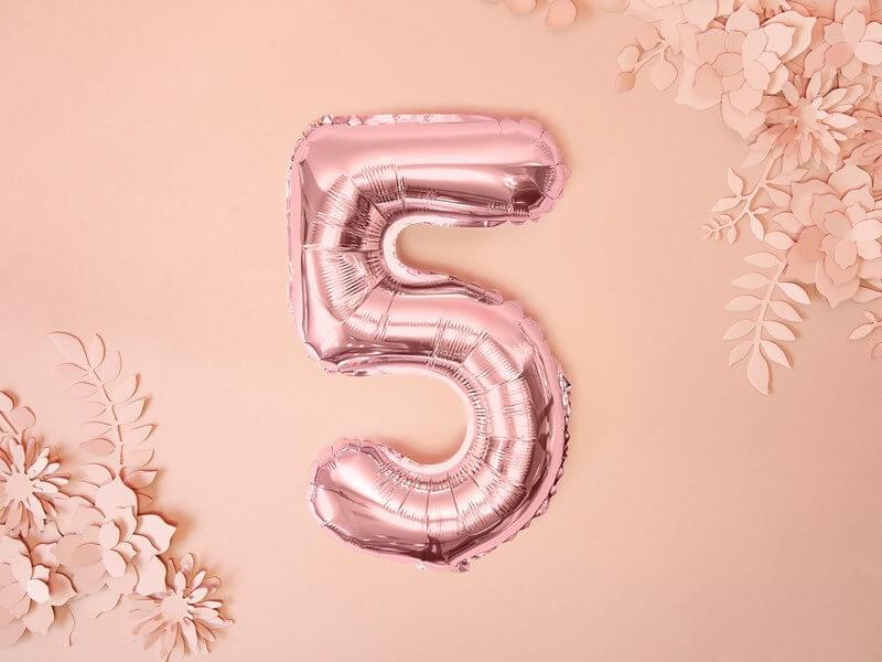 Ballon anniversaire chiffre 5 Or Rose 35cm