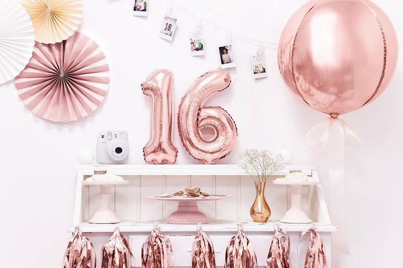 Ballon anniversaire chiffre 6 Or Rose 35cm