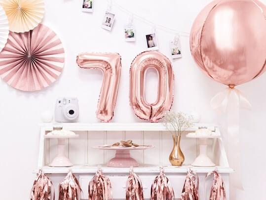 Ballon anniversaire chiffre 7 Or Rose 35cm