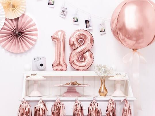 Ballon anniversaire chiffre 8 Or Rose 35cm