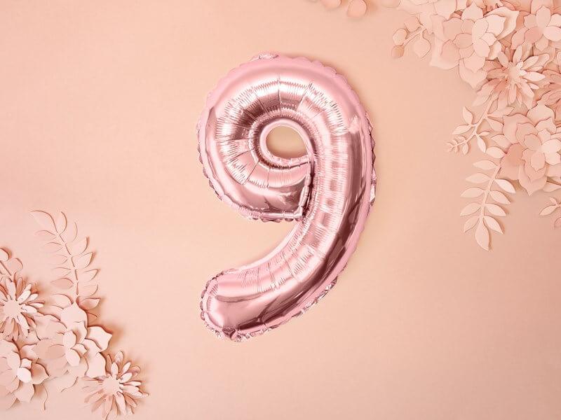 Ballon anniversaire chiffre 9 Or Rose 35cm