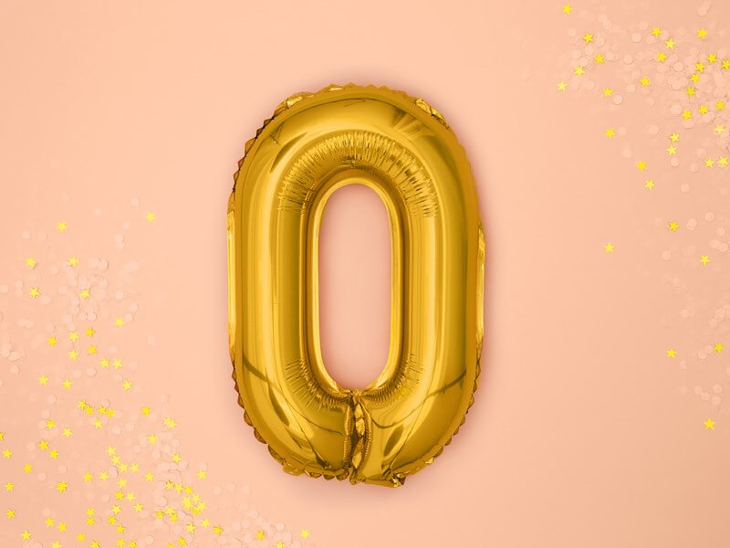 Ballon anniversaire chiffre 0 Or 35cm