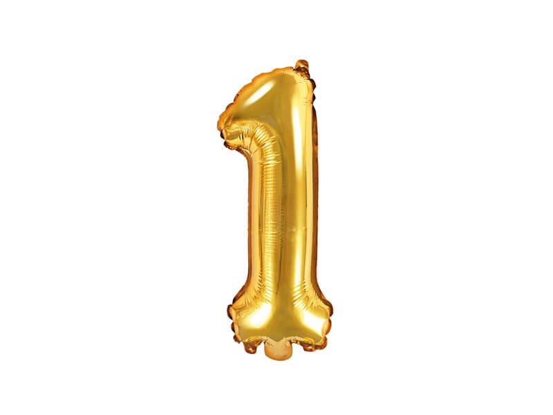 Ballon anniversaire chiffre 1 Or 35cm