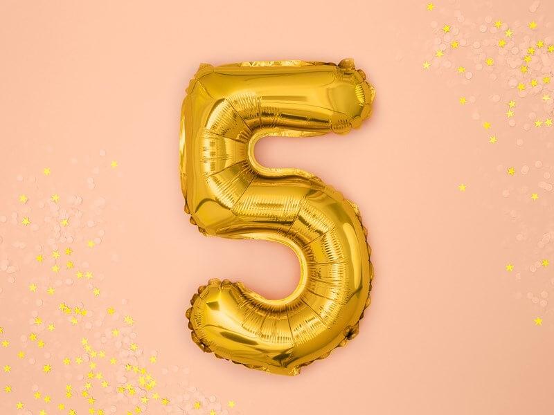 Ballon anniversaire chiffre 5 Or 35cm