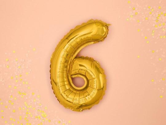 Ballon anniversaire chiffre 6 Or 35cm