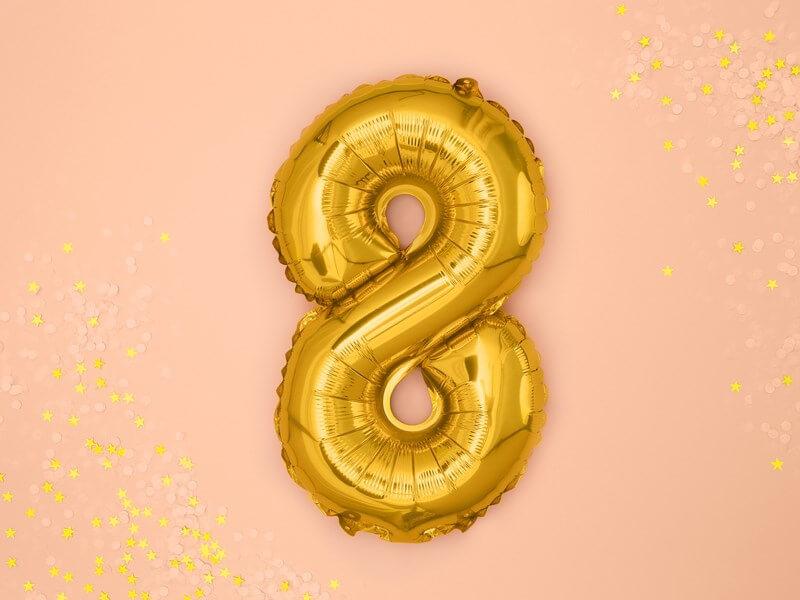 Ballon anniversaire chiffre 8 Or 35cm