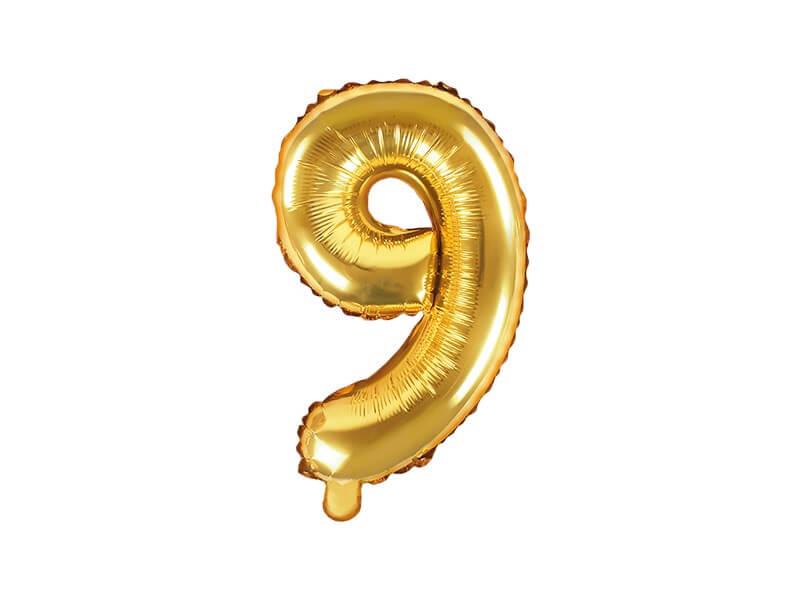Ballon anniversaire chiffre 9 Or 35cm