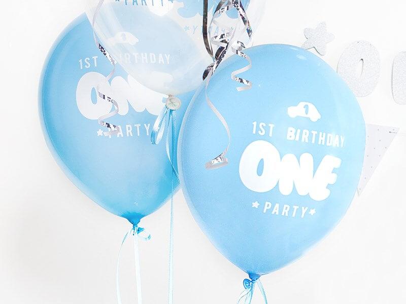 Lot de 50 Ballons 1st Birthday ONE bleu & blanc