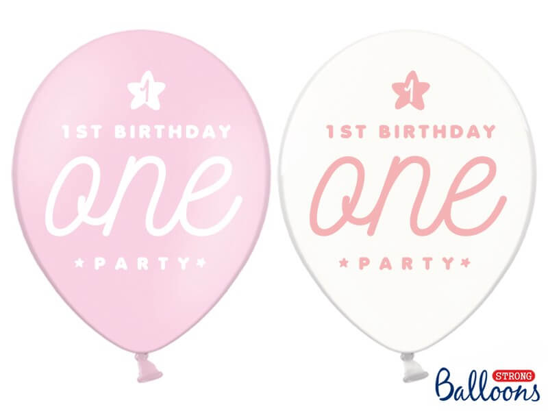 Lot de 50 Ballons 1st Birthday ONE roses & transparents