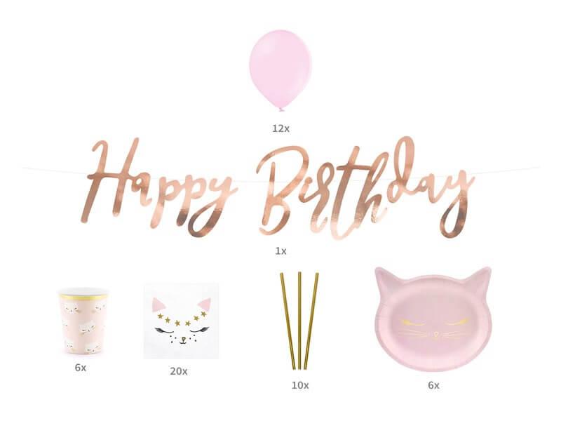 Kit décoration anniversaire thème Chat Rose & Or