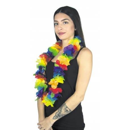 Collier Hawaîen grosses fleurs multicolore 100cm