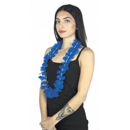 Collier Hawaîen à fleurs bleu
