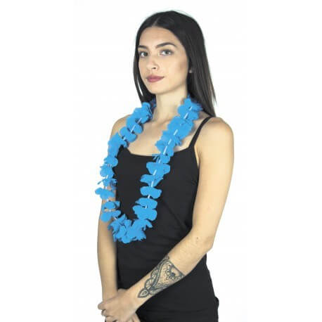 Collier Hawaîen à fleurs bleu turquoise