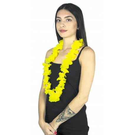 Collier Hawaîen à fleurs jaune