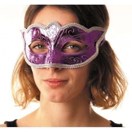 Masque vénitien burlesque violet avec contour argent