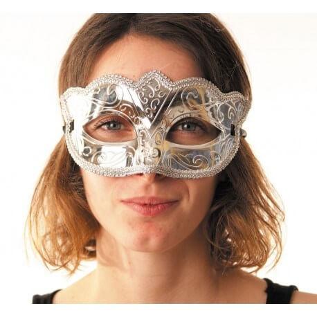 Masque vénitien burlesque argent