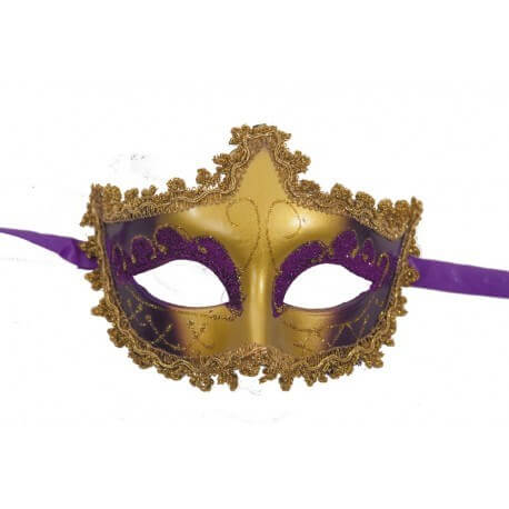 Masque vénitien or et violet
