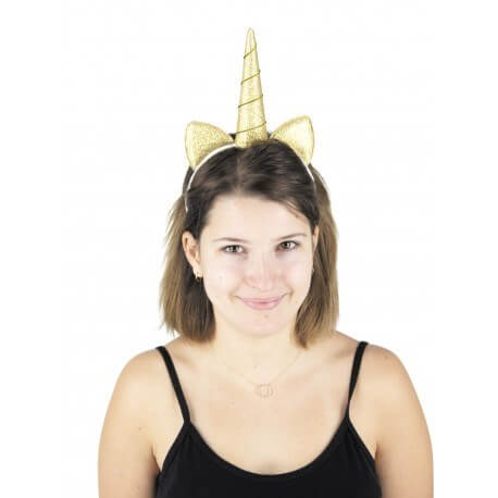 Serre tête Licorne en paillette or
