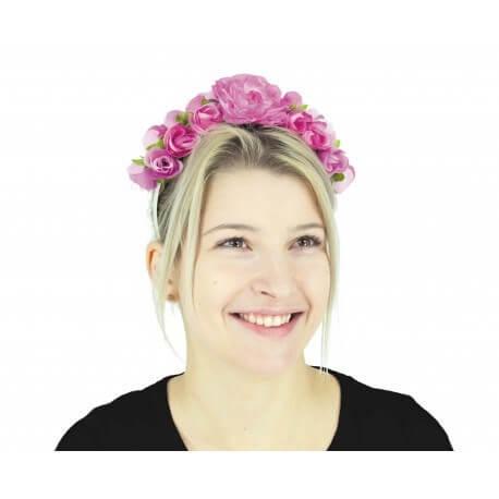Serre tête à fleurs roses