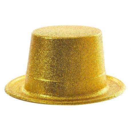 Chapeau Haut de forme paillette or