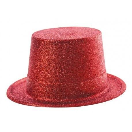 Chapeau Haut de forme paillette rouge