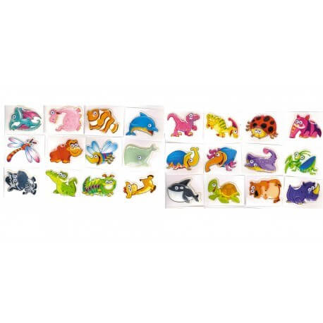 Lot de 6 Stickers Animaux 3D