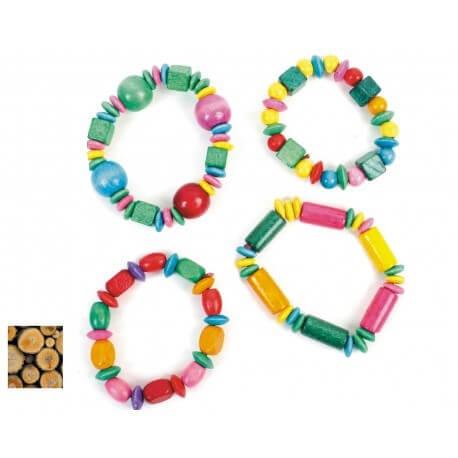 Bracelet en bois multicolore