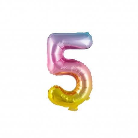 Ballon anniversaire chiffre 5 Rainbow 36cm
