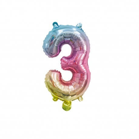 Ballon anniversaire chiffre 3 Rainbow 36cm