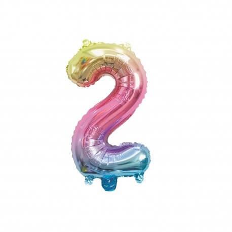 Ballon anniversaire chiffre 2 Rainbow 36cm