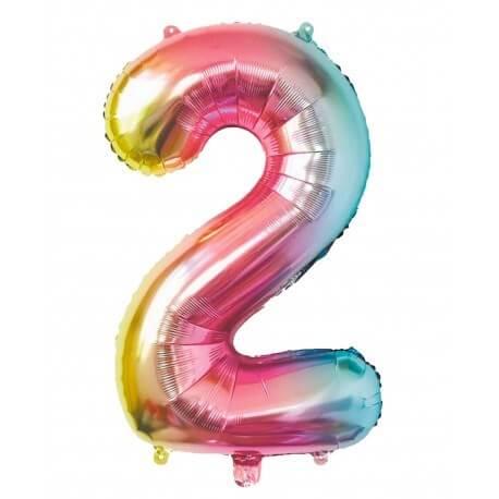 Ballon anniversaire chiffre 2 Rainbow 86cm