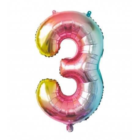 Ballon anniversaire chiffre 3 Rainbow 86cm
