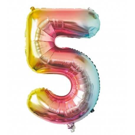 Ballon anniversaire chiffre 5 Rainbow 86cm