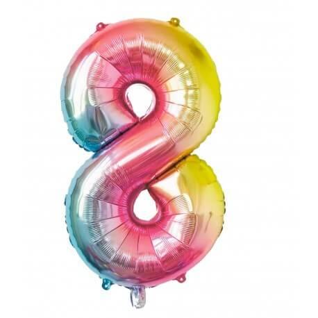 Ballon anniversaire chiffre 8 Rainbow 86cm