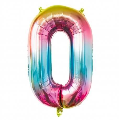 Ballon anniversaire chiffre 0 Rainbow 86cm