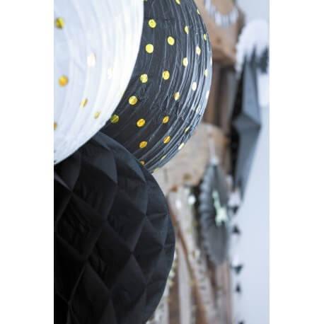 Lanterne Japonaise noire à pois Or 35cm