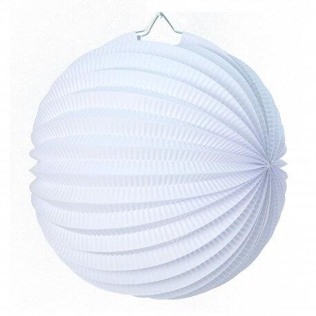 Lampion boule de papier rond blanc 30cm