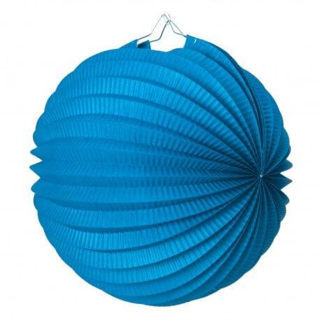 Lampion boule de papier rond bleu 20cm