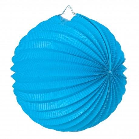 Lampion boule de papier rond bleu clair 20cm