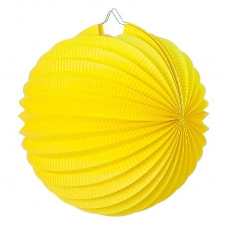 Lampion boule de papier rond jaune 30cm