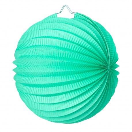 Lampion boule de papier rond vert céladon 20cm