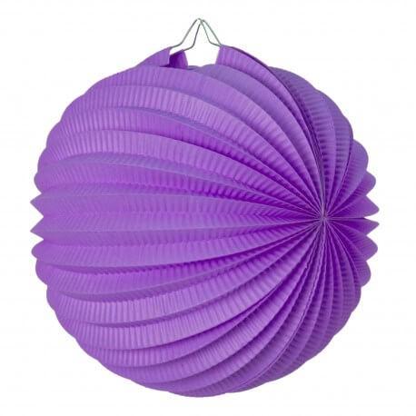 Lampion boule de papier rond violet 30cm