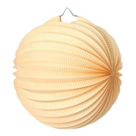 Lampion boule de papier rond crème 20cm