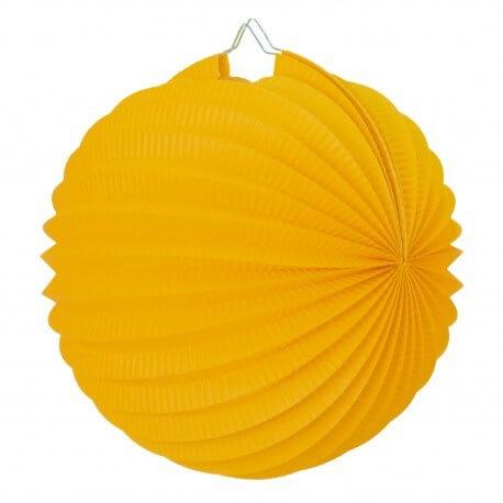 Lampion boule de papier rond jaune moutarde 30cm