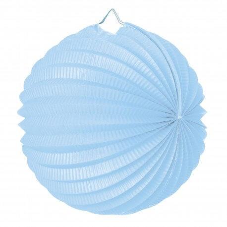 Lampion boule de papier rond bleu tendre 20cm